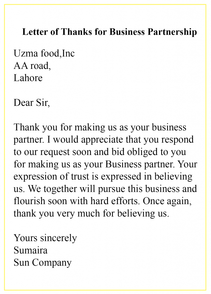 Thank You Letter For Business Partnership Examples
