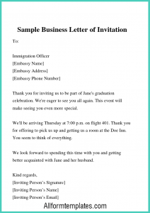 Business Letter Of Invitation Sample