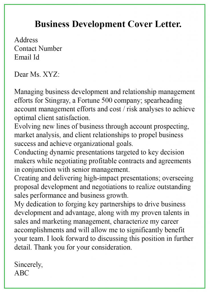 Business Development Cover Letter Sample
