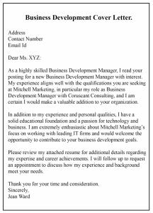Business Development Cover Letter PDF