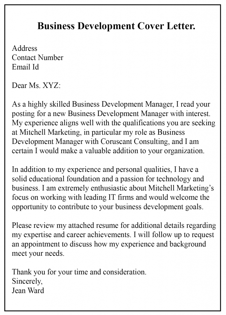 Business Development Cover Letter PDF