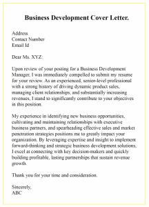 Entry Level Business Development Cover Letter