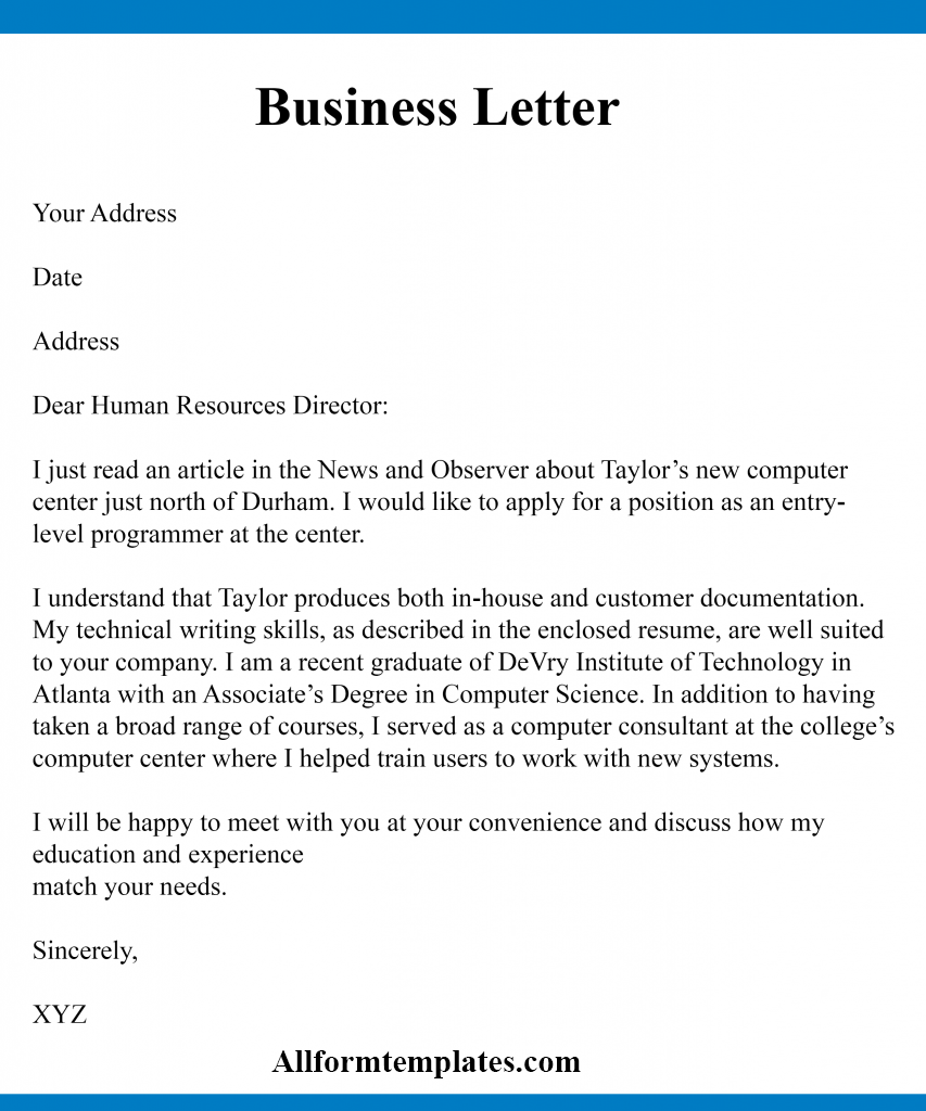 Business Letter Writing Samples
