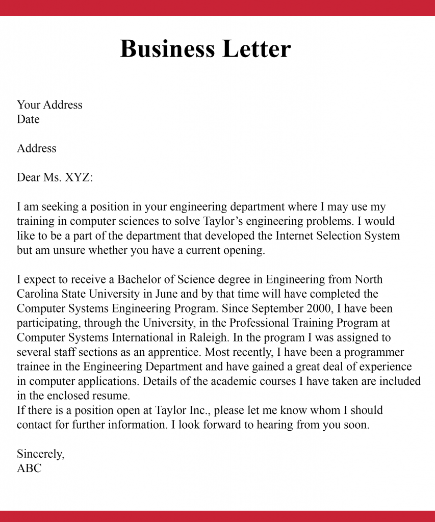 Simple Business Letter For Students