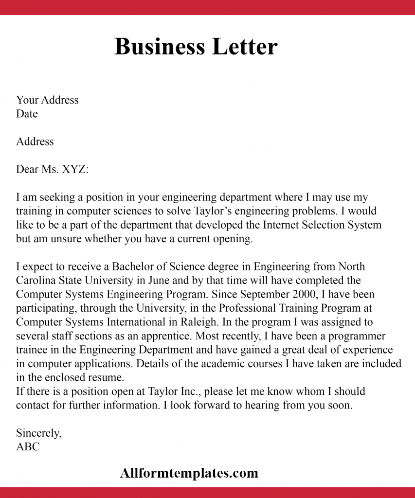 Formal Business Letter Writing
