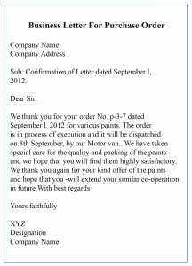 Business Letter For Purchase Order