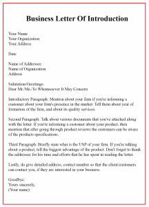 Business Letter of Introduction Sample