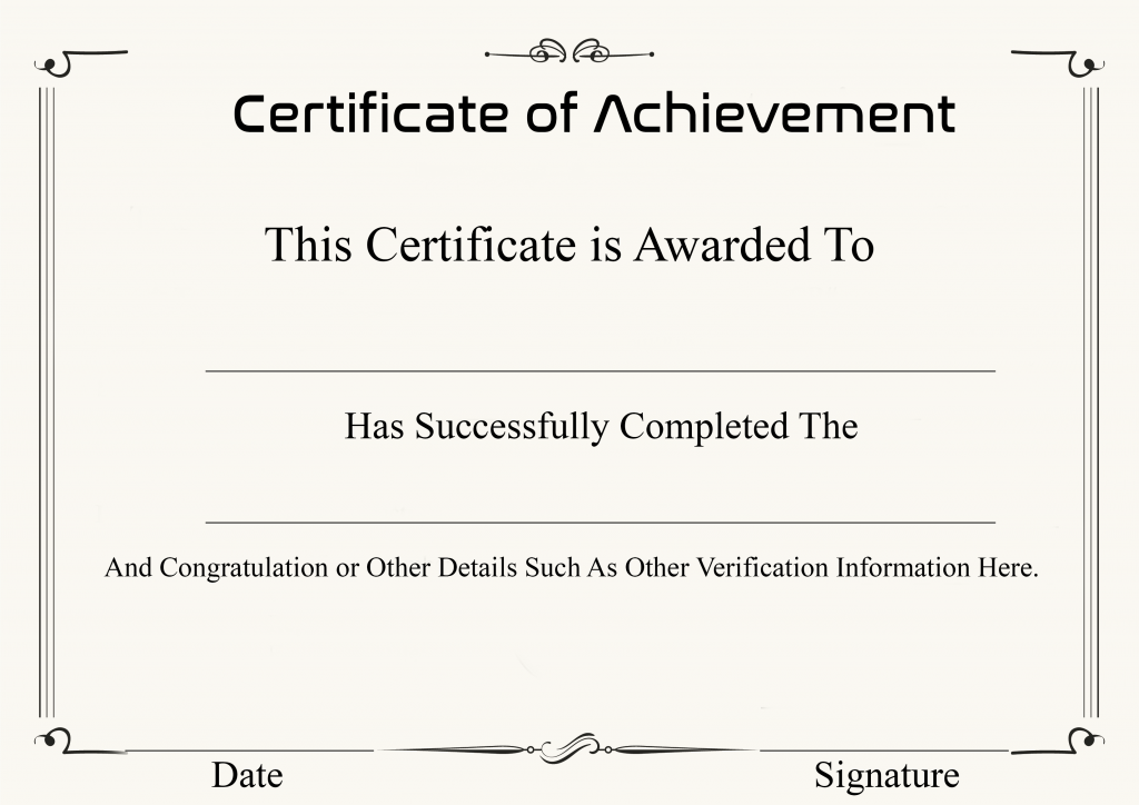 Certificate of Achievement Template Word