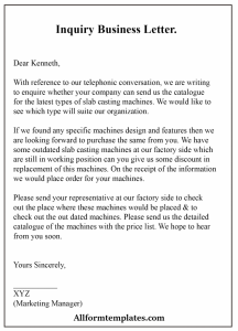How To Write An Inquiry Business Letter