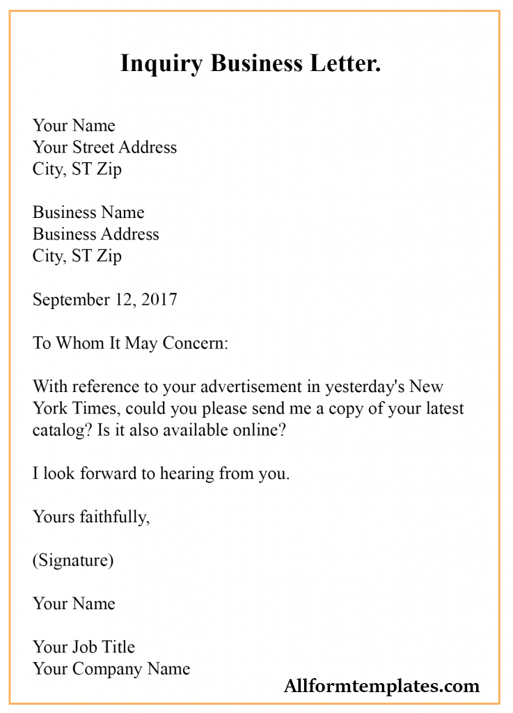 Inquiry Business Letter Example