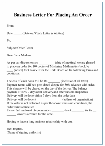 Sample Business Letter For Placing An Order