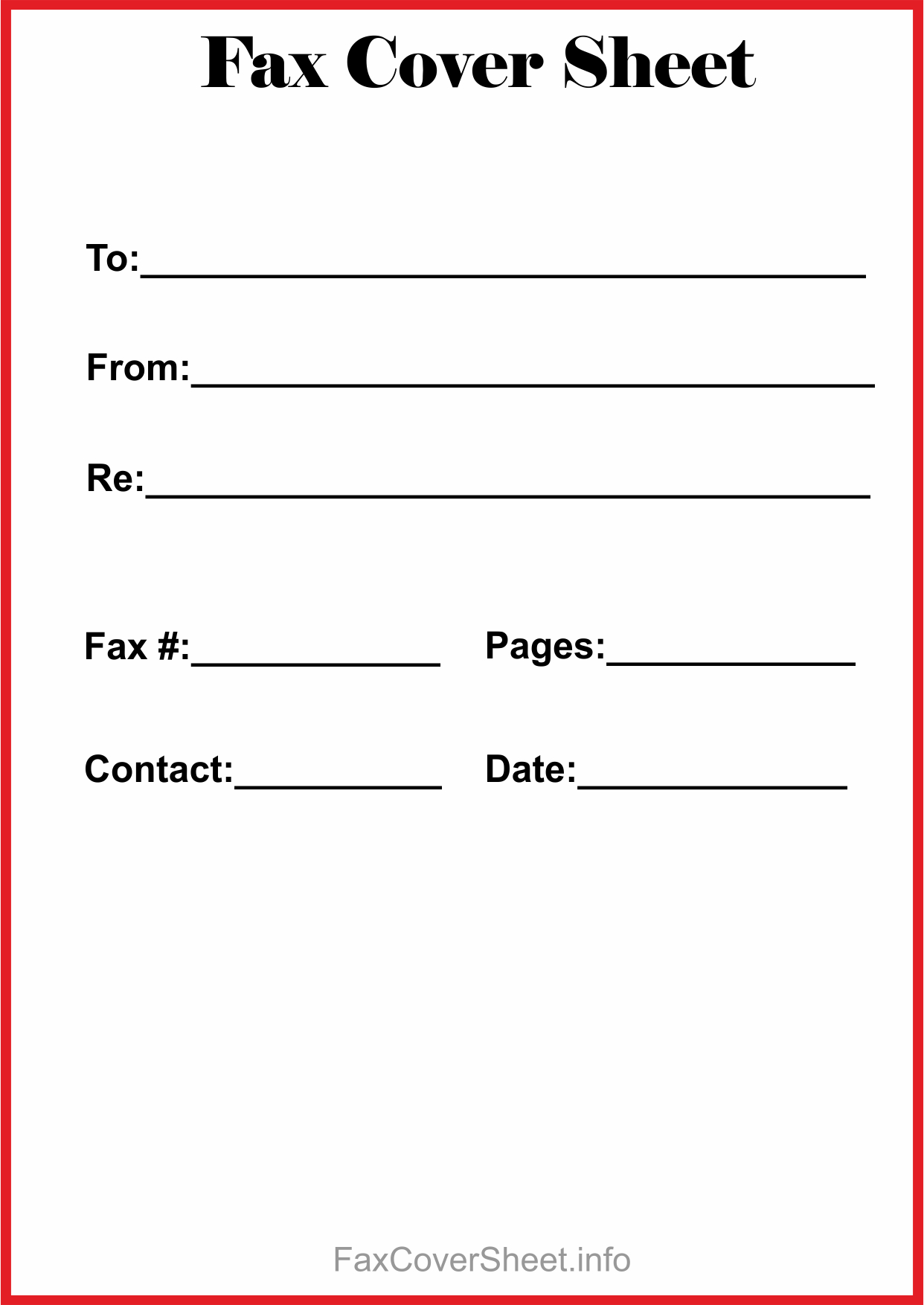 Editable Fax Cover Sheet