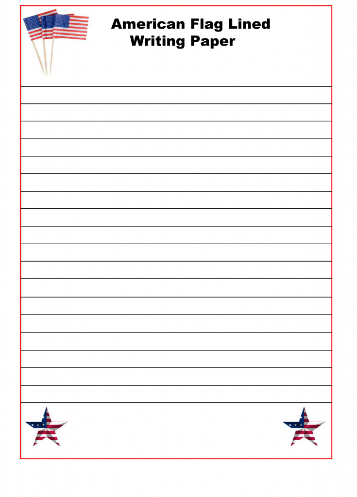 American Flag Lined Paper