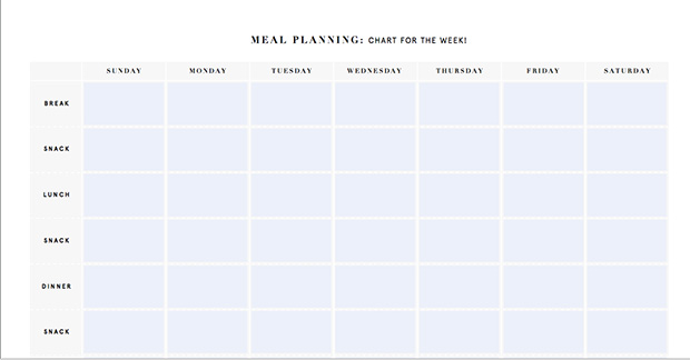 Blank Monthly Meal Planner Template