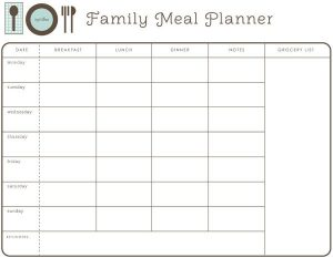 Family Meal Planner Calendar