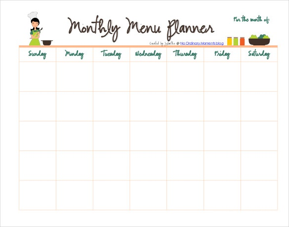 Monthly Meal Planner in PDF