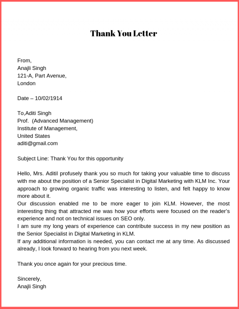 Thank You Letter Template, How To Write Thank You Letter