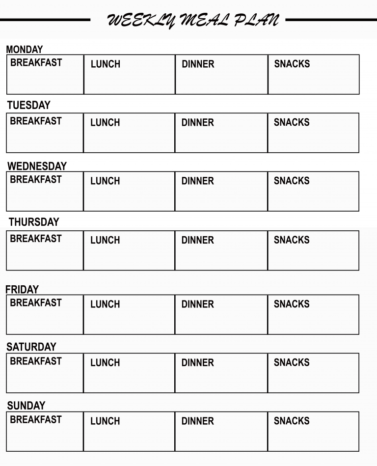 Editable Weekly Meal Planner Template from www.allformtemplates.com