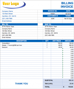 Format of Invoice Template Excel