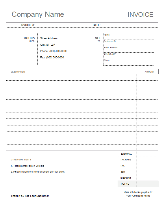 Free Printable Invoice Format