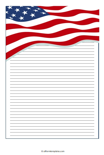 American flag writing paper