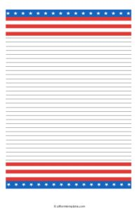 The American flag writing paper