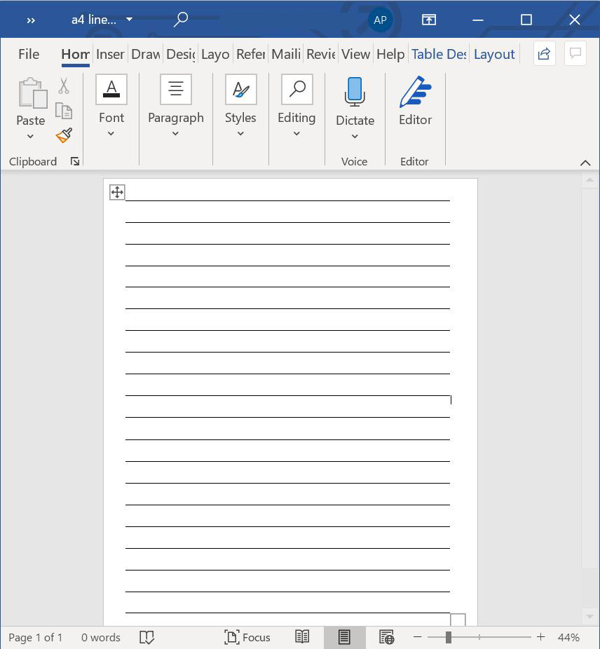 a4 lined paper template