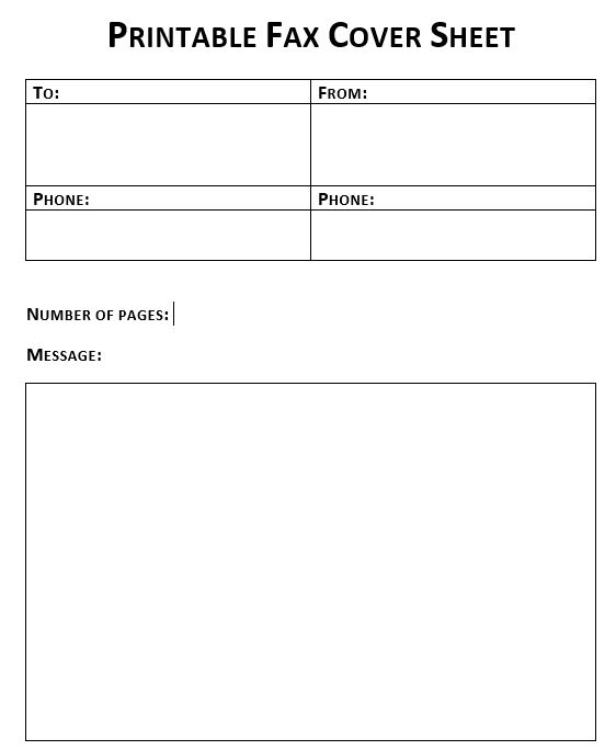 fax cover sheet printable