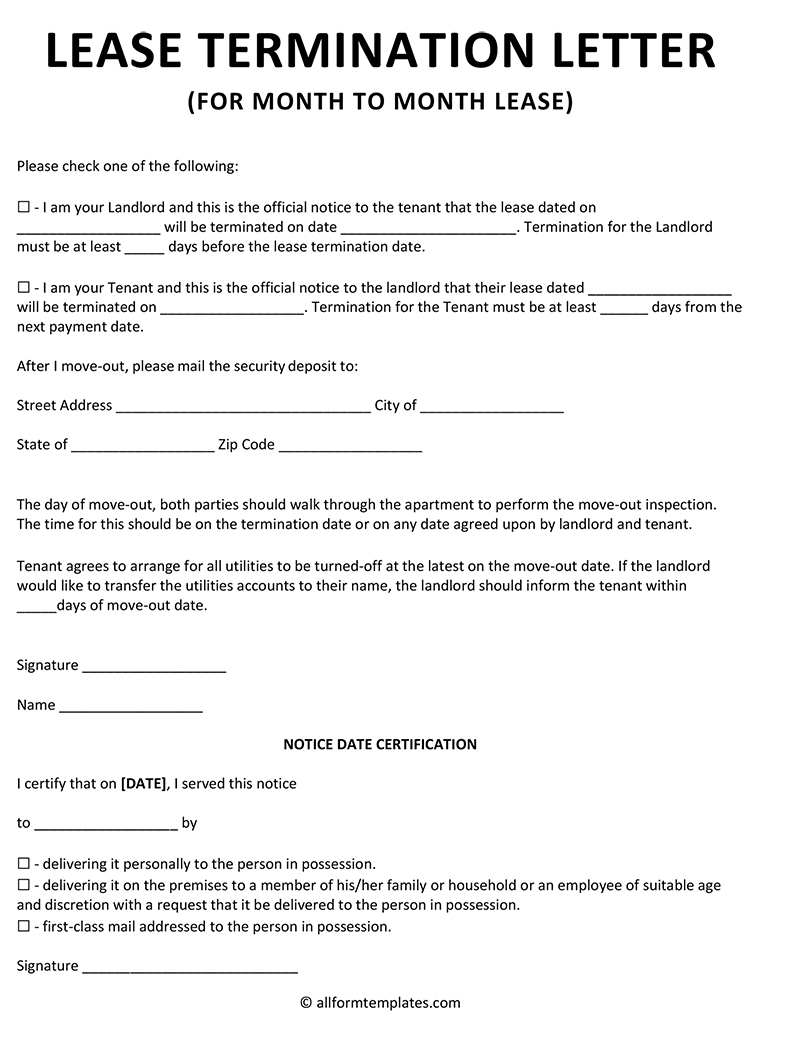 Office lease termination letter