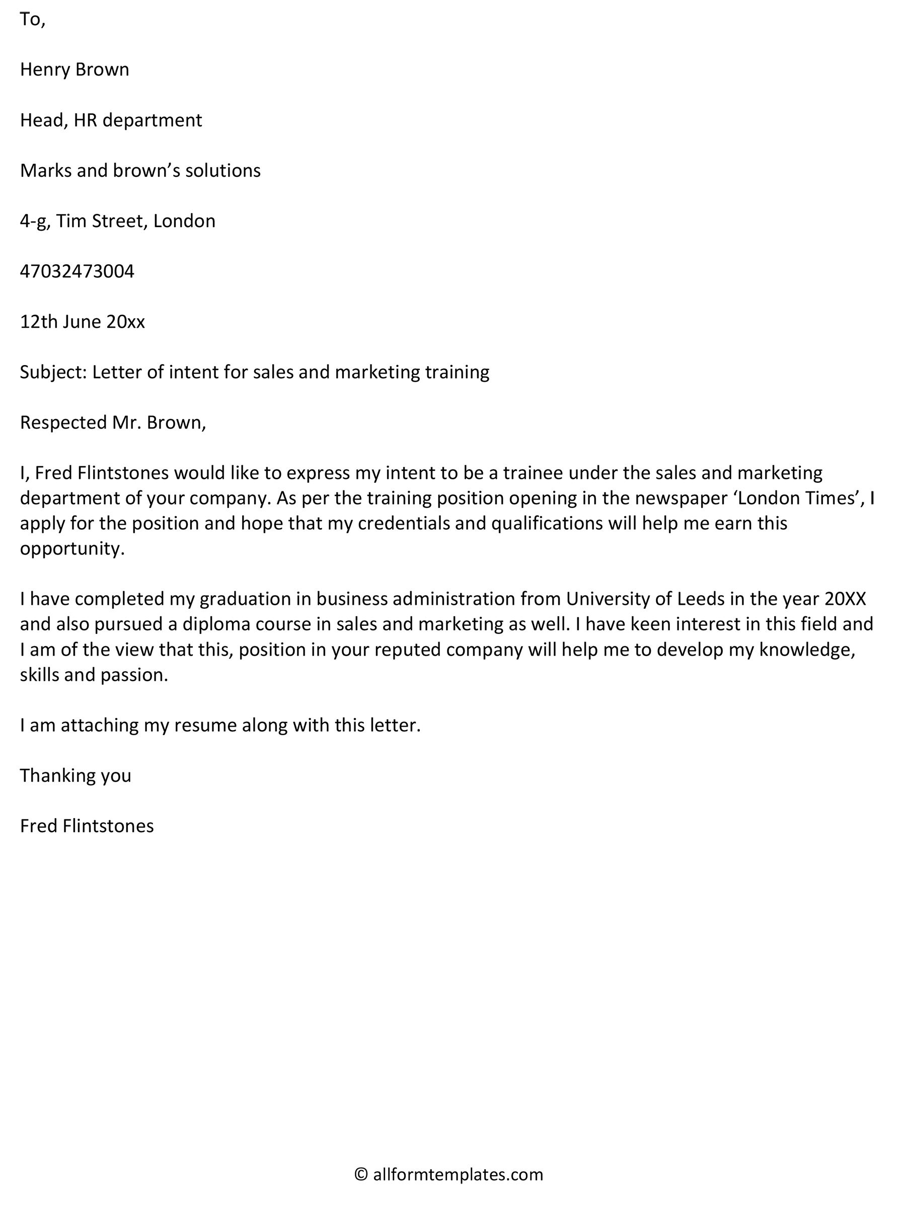 Letter of intent for sales and marketing training
